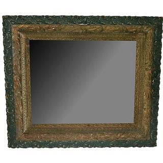 19th-C. Victorian Gold-Leaf & Green Mirror