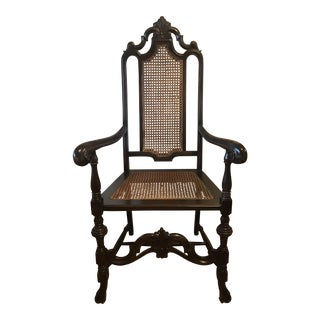 Jacobean High Back Cane Armchair