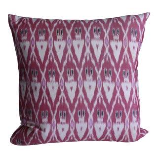 Raspberry Silk Ikat Pillow