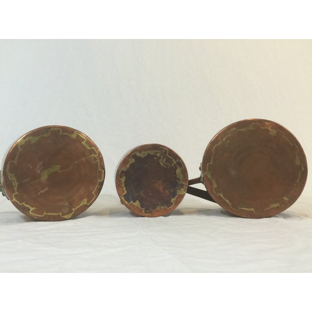 Image of Antique Copper Pots with Dovetailing - Set of 3