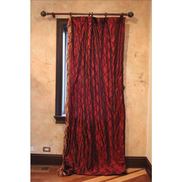 Victorian Style Drapes in Burgundy - A Pair - Image 2 of 10