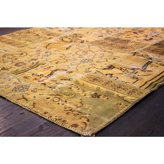 Image of Apadana - Yellow Patchwork Overdye Rug - 5' x 7'