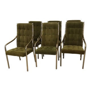Chromcraft Green Velvet & Brass Dining Chairs - Set of 6
