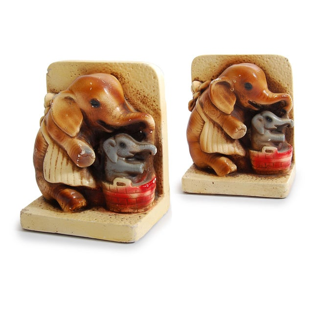 Image of 1944 Pd & Co Chalkware Elephant Bookends - Pair