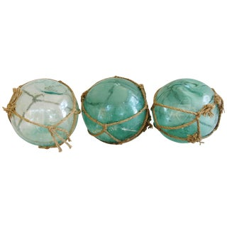 Large Hand Blown Glass Fishing Floats - Set of 3