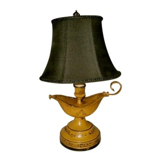 Aladdin Tole Lamp Yellow Black Rewired Early 1900