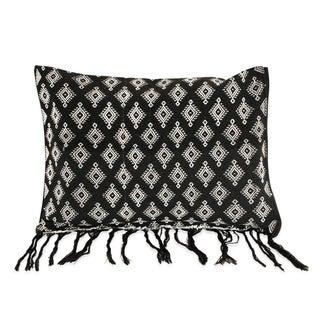 New Black Handloomed Ikat Boho Pillow