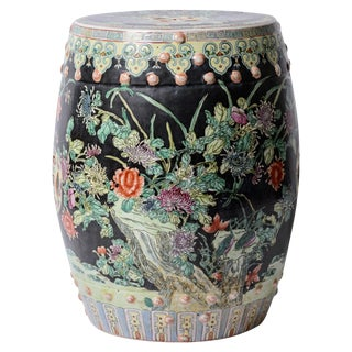 Garden Stool/Side Table Chinese Famille Noire Rare Large
