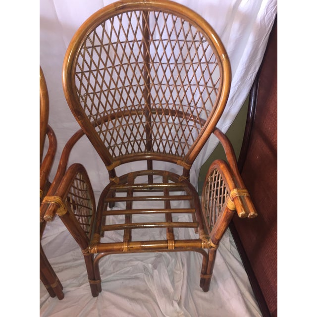 Chinoiserie Chinese Chippendale Rattan Chairs - a Pair - Image 3 of 11