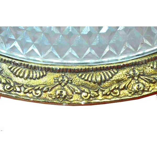Image of Mid-Century Cut Glass & Brass Ceiling Fixture