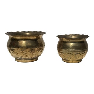 Tribal Chevron Imposed Brass Pots - A Pair