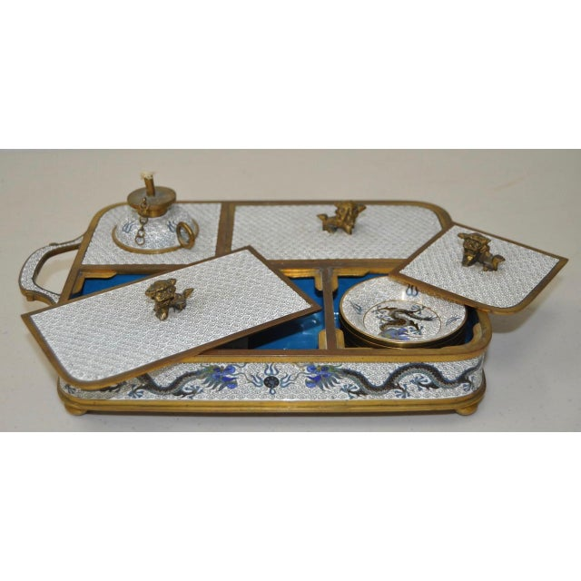 Blue & White Cloisonne Enameled Desk Set - Image 11 of 11