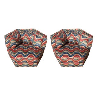 Red & Blue Ikat Club Chairs - A Pair