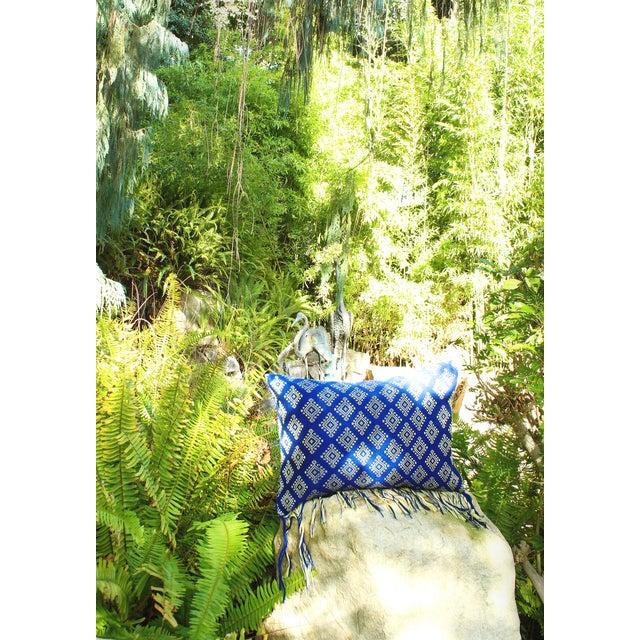Indigo Ikat Pillow Cover, Indigo Boho Pillows - Image 3 of 3