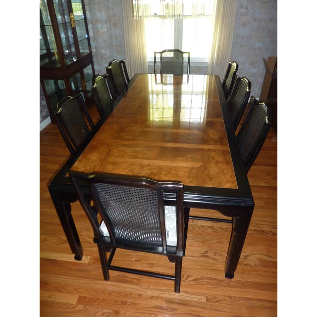 Century Black Lacquer & Burled Wood Dining Set | Chairish