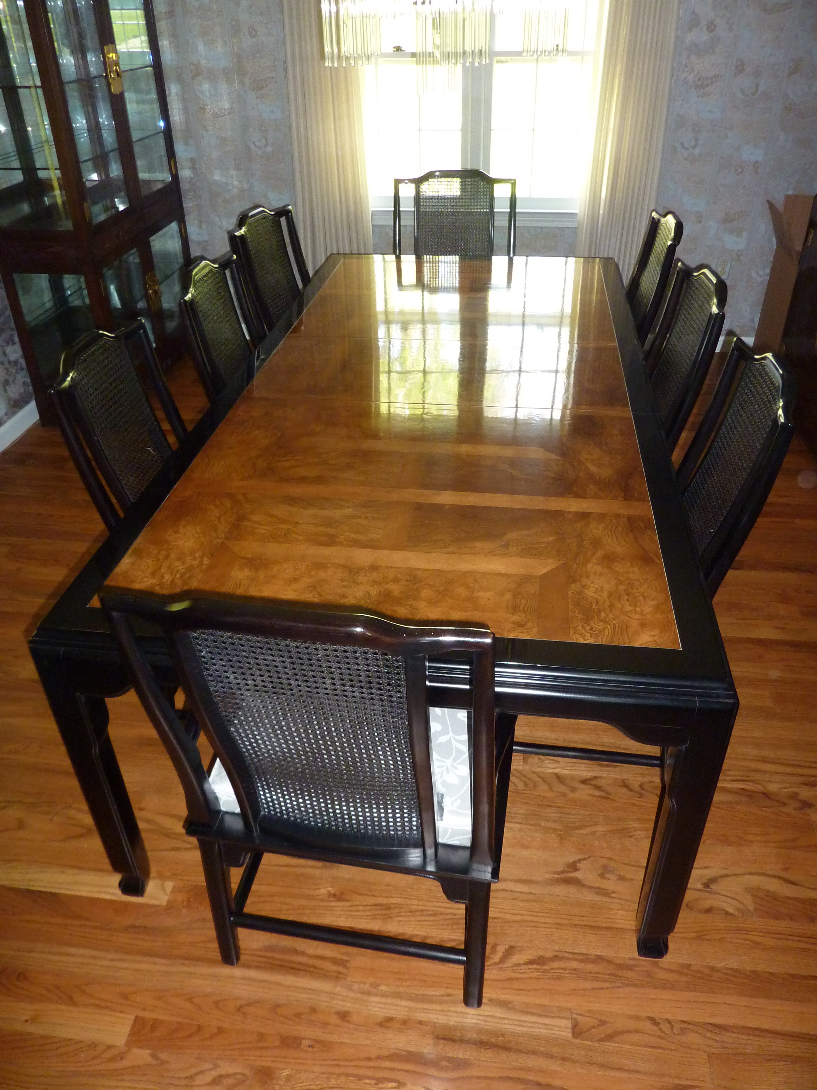 Century Black Lacquer U0026 Burled Wood Dining Set   Image 2 ... Part 54