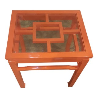 Chinese Chippendale Orange Lacquer Table