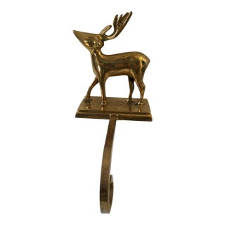 Vintage Brass Reindeer Christmas Stocking Holder