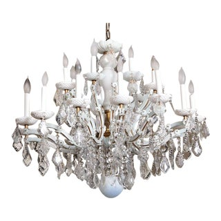 Over the Top White Glass Maria Theresa Style Chandelier