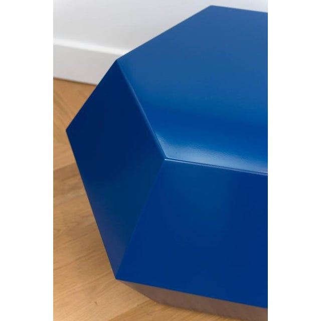 Lacquered Navy Faceted Cocktail Table - Image 5 of 6