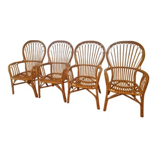 Bentwood Rattan Dining Chairs - Set of 4