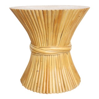 McGuire Wheat Sheaf Side Table- Rattan and Bamboo End Table
