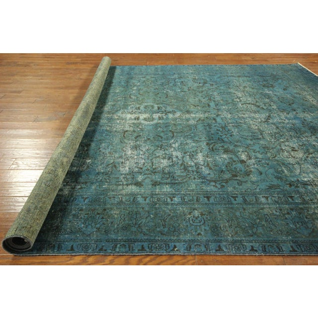 Irani Persian Blue Overdyed Wool Rug - 10'X13' - Image 7 of 8