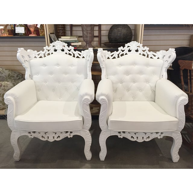 White Rococo Wingback Chairs - A Pair - Image 2 of 11