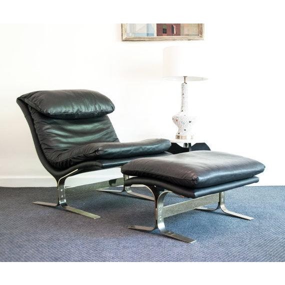 Vintage Leather Lounge Chair & Ottoman - Image 2 of 3