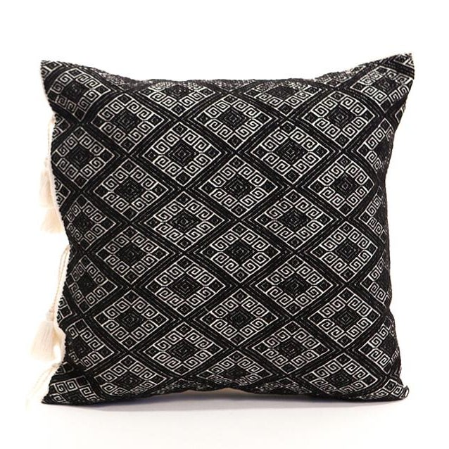 Black Diamonds Handwoven Pillow - Image 1 of 6