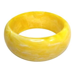 Marbleized Yellow Acrylic Bangle