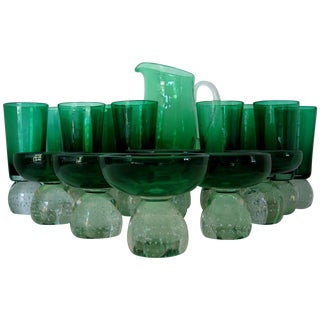 Carl Erickson Green Glass Collection - Set of 16