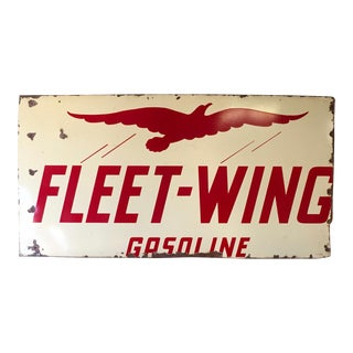 Antique Fleet Wing Gasoline Porcelain Sign