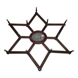 Antique Victorian 6-Point Star Form 12-Peg Accordion Hat Rack + Mirror