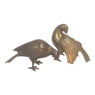 Brass Dove Figurines - a Pair