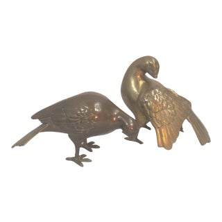 Brass Dove Figurines - a Pair