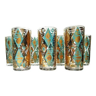 Turquoise & Gold Mid-Century Highball Glasses - Set of 7