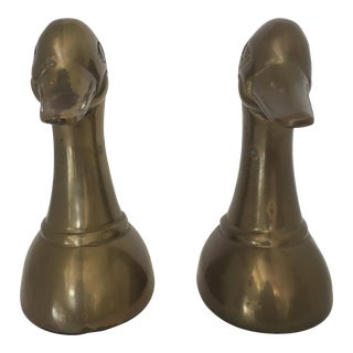 Leonard Brass Duck Bookends - A Pair