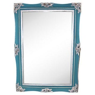 Hand Painted Blue & Silver Mirror