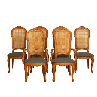 French Louis XV Carved Dining Chairs - Set of 6