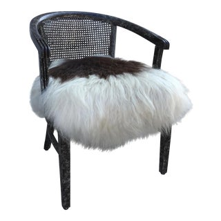 New Zealand Sheepskin Upholstered Caned Chair