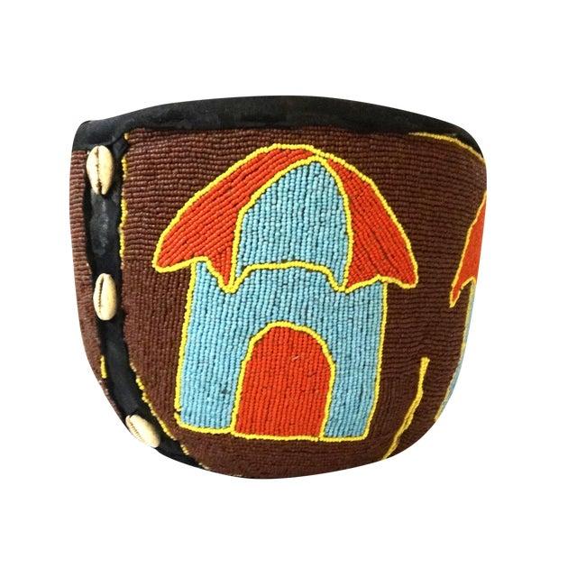 Youruba Glass Seed Beaded Basket with Houses - Image 1 of 7