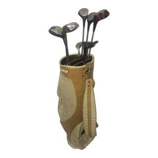 Vintage Leather & Vinyl MacGregor Golf Bag & Clubs - Set of 9