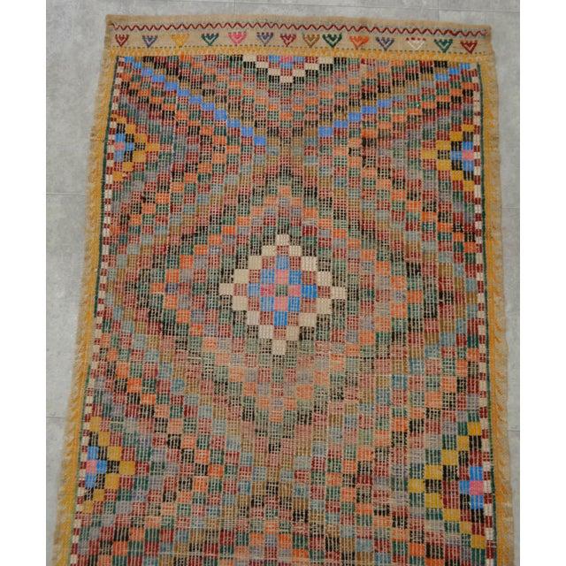 "Turkish Oushak Handmade Cotton Kilim Runner Rug - 3'2"" x 12'4"" - Image 6 of 10"