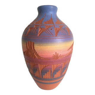 Vintage Navajo Signed Purple Pink Terra Cotta Pottery Vase