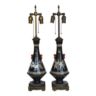 Neoclassical Style Porcelain Lamps - A Pair