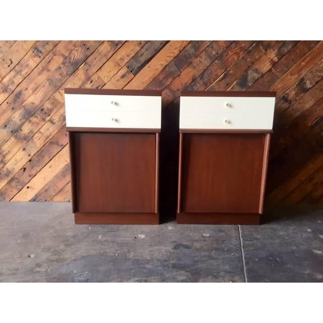 Mid-Century Walnut Nightstands - A Pair - Image 2 of 6