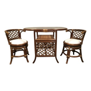 Bamboo Table & Swivel Chairs