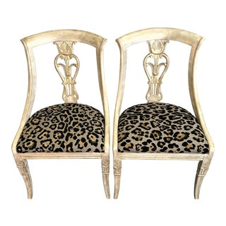 Empire Style Chairs With Leopard Seats - A Pair