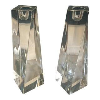 Mid-Century Crystal Candle Sticks - A Pair